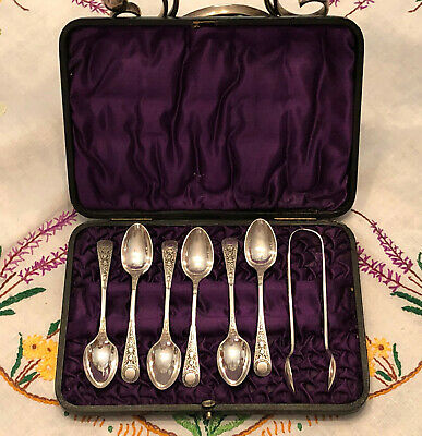 Antique EPGSS Electro Plated German Silver Sugar Spoons & Sugar Tongs Cased