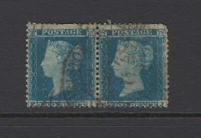 "Pair of GB QV 2d Blue SG34 ""EI/EJ"" Two Pence Queen Victoria 1855 Used Stamps"