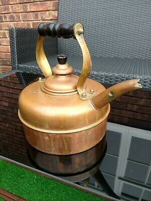 Vintage Copper Kettle with Wooden Handle-great display piece. Simplex.