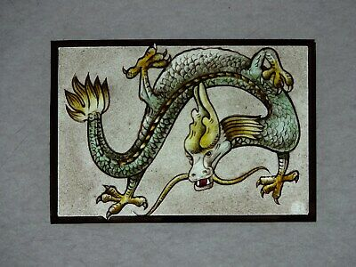 Beautiful Stained glass.DFRAGON.Hand painted.Kiln fired.155x110mm. Antique st.