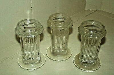 Lot of 3 Vintage Antique Apothecary Pharmacy Glass Square Ribbed Jar Containers
