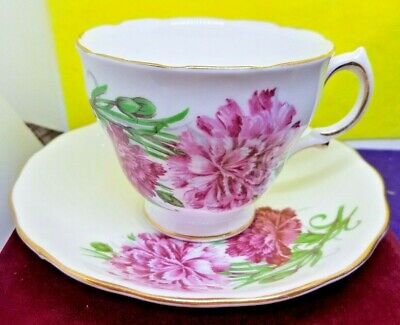Vintage Collector Royal Vale Bone China England Teacup&Saucer Set Pink Flowers