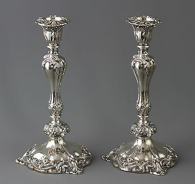 A Very Good Pair of Victorian Silver Candlesticks Sheffield 1847