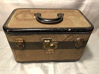Vtg Dresner Chicago Luggage Hard Shell Brown TWEED Train Case Suitcase PATINA!