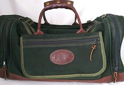 ORVIS Battenkill Green Canvas/Brown Leather Classic Duffel Travel Bag