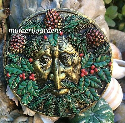 Spring Season Blossoms Greenman Pan Wall Decor Plaque Celtic Culture Figurine