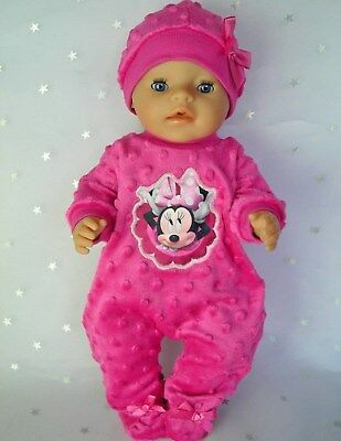 """Dolls clothes for 17"""" Baby Born  doll~ MINNIE MOUSE HOT PINK BOBBLE JUMPSUIT~HAT"""