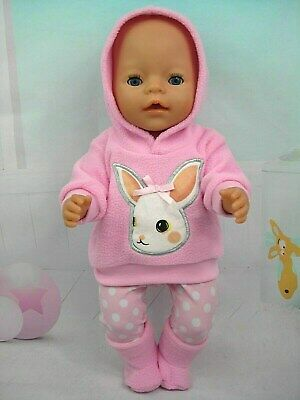 """Dolls clothes for 17"""" Baby Born doll~RABBIT PINK HOODIE /SPOTTY LEGGINGS / BOOTS"""