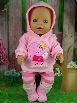 """Dolls clothes for 17"""" Baby Born doll~PINK PEPPA PIG HOODIE/LEGGINGS/BOOTS"""