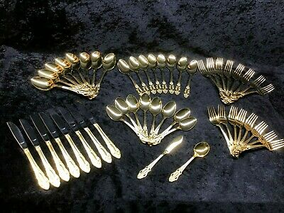 United Silver Artistic Rose Gold Electroplate Flatware Service for 8 Pierced
