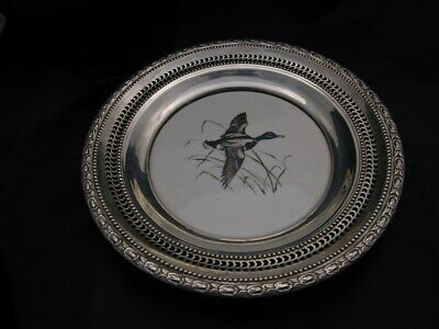 FRANK M WHITING STERLING SILVER RIMMED BOWL with MALLARD...........GIFT QUALITY.