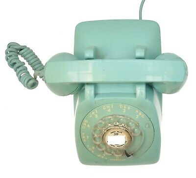 Vintage GTE Rotary Dial Turquoise Aqua Desk Telephone 802300 CXX 9-68-6