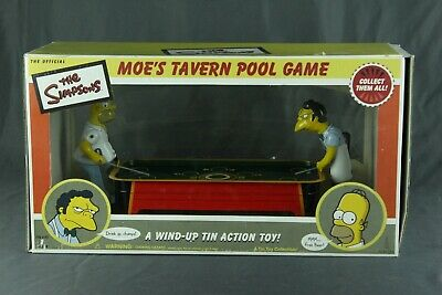 Official The Simpsons Moe's Tavern Pool Game Tin Litho Wind-Up Action Toy W/Box