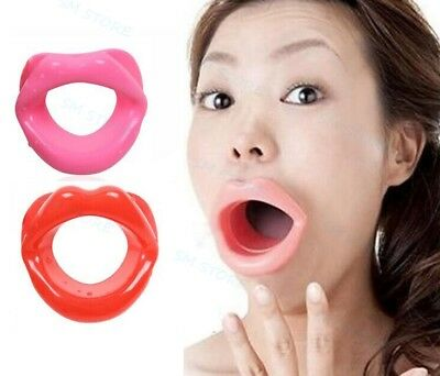 Sexy Mouth Open Silicone Sissy Lip Stuffed Salve Oral Gag Fancy Dress Costume
