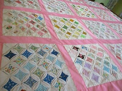 "Vintage Handmade quilt ""Cathedral window 72 X 56"