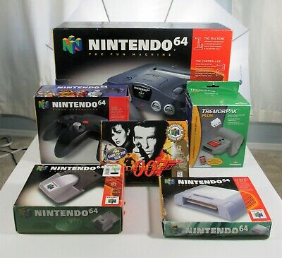 Nintendo 64 System in Box Bundle 007 2 Controllers Memory Tremor CIB N64 Lot
