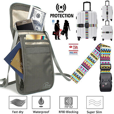 Luggage Strap Code Password Suitcase Secure Travel Body Wallet Passport Holder