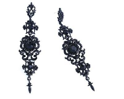 ed1313eea Women Alloy Black Jet Crystal Rhinestone Drop Dangle Earrings 4