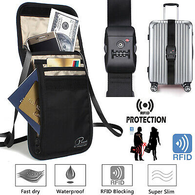 Travel Pouch + Passport Holder for Women & Men TSA Lock Luggage Strap Long Belt