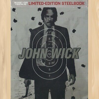 Keanu Reeves JOHN WICK Chapter 1 LIMITED EDITION SteelBook BLU-RAY + DVD    0626