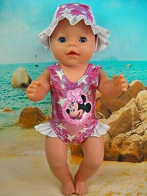 """Dolls clothes for 17"""" Baby Born Doll~MINNIE MOUSE STARS SWIMMING COSTUME~HAT"""