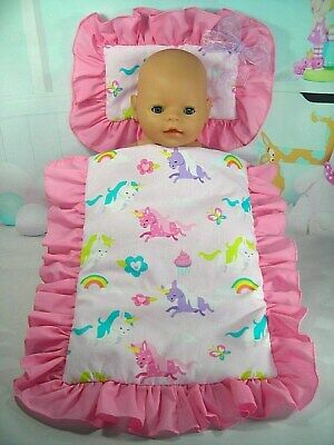Dolls~Pink Unicorn~ Pillow & Quilt Cover Set For~ Bed, Cot, Pram, Cradle ~