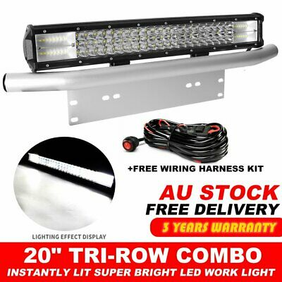 20inch LED Light Bar SPOT FLOOD Work Driving Bar 23'' Number Plate Frame +Wire