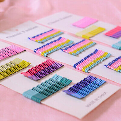 Kids Candy Color Hair Clip Stick Bobby Pin Wavy Hairpin Metal Barrette 50Pcs/Set