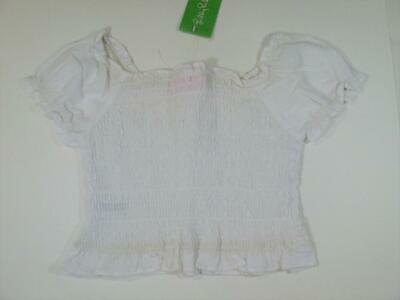 New LILLY PULITZER Ashby TOP Size 6 White Smocked Elastic Textured Cotton