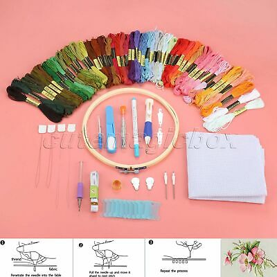 Magic Embroidery Pen Punch Needles Set Scissors Thimble Threads Hoop Sewing Tool