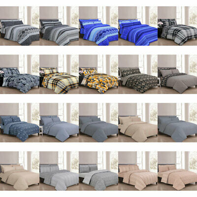 4 Piece Duvet Set With Duvet Cover Pillow Case Fitted Sheet Bedding Set All Size