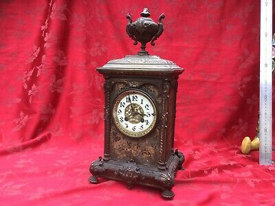 Very Rare Bronze Mounted French Japanned  Mantel Clock For Restoration