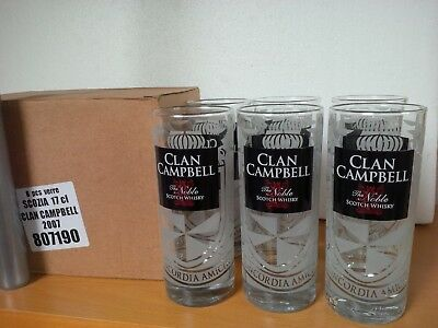 6 verres à whisky Clan Campbell 17 cl