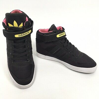 ADIDAS NEO HIGH Womens Trainers Pink Black Height Increasing Shoes Size UK 7