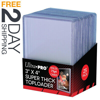 Trading Card Sleeves Hard Plastic Topload Clear Case Holder 25 Baseball Cards