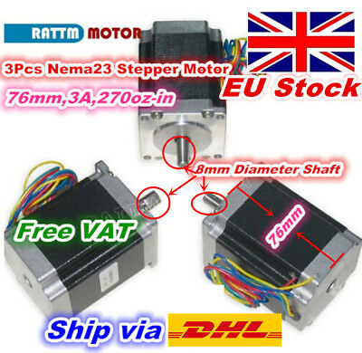 『EU stock』 3 x Nema23 270oz.in Stepper Motor 76mm 3.0A For CNC Router/3D Printer