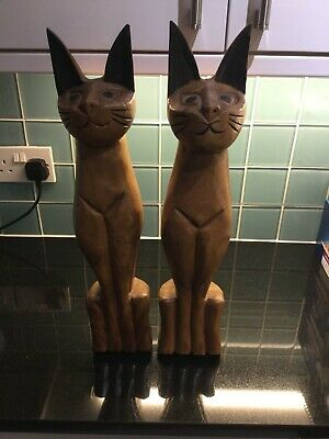 Tall Wooden Cat Ornaments Cat Charity Figurines Collectable
