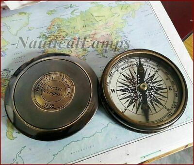 Stanley London 1885 Brass Antique Compass Nautical Poem Robert Frost Vintage 3""