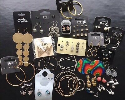 Job Lot Of Costume Jewellery Earrings Pierced Clip On Oasis F&F Gold Tones + Tag