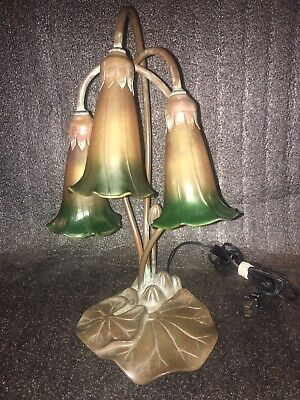 Antique Copper Aurene Gold/Green Sheen Glass 3 Bulb Lily Lamp Working Condition