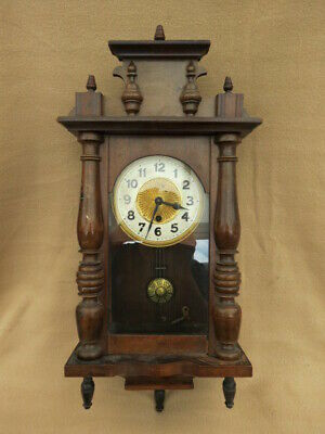 Vintage Spring Driven Regulator Style Wall Clock For Spares Repair