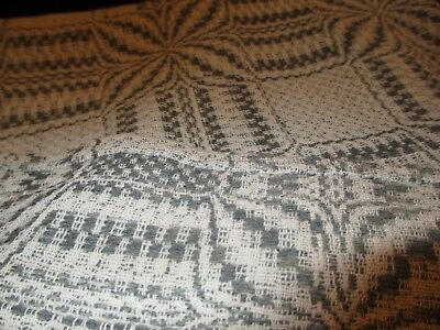 "Antique 1910 small wool hand made blanket  green & white 61"" x 64"" good cond"