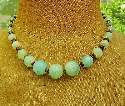 Vtg Old Art Deco Opalescent Bohemian Crackle Foil Glass Bead Necklace