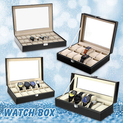 24 Grid Faux Leather Watch Case Jewelry Collection Storage Display Box Glass Top