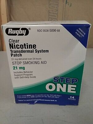 Rugby Nicotine Transdermal System 14 Patch Stop Smoking Aid 21mg Step 1 Exp 4/21