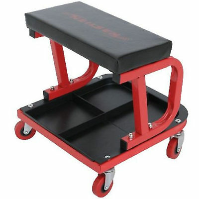 Mechanics Garage Workshop Trolley Creeper Swivel Padded Seat + Tool Storage Tray
