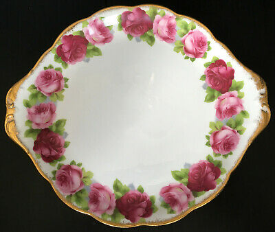 Royal Albert Old English Rose Handled Cake Plate First Quality England
