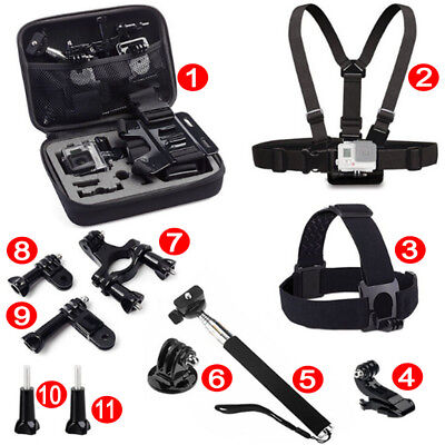 11-in-1  Head Chest Mount Monopod Accessories Kit For Gopro Hero 6 5 4 3 2 Camer