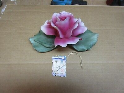 Vintage Capodimonte Bisque Porcelain Flowers - Pink Porcelain Rose With Tag