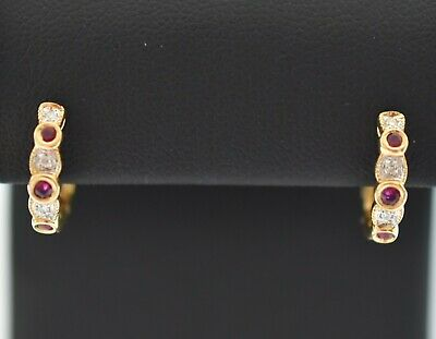 Diamond and Ruby Earrings 14 k yellow Gold